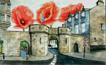 Poppies over West Port, St Andrews, 2012